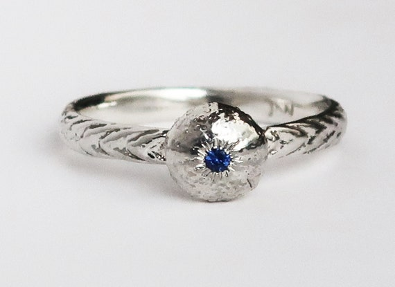 Sterling Silver and Blue Sapphire Tiny Cushion Sea Urchin Ring, US size 6.25-Ready to Ship