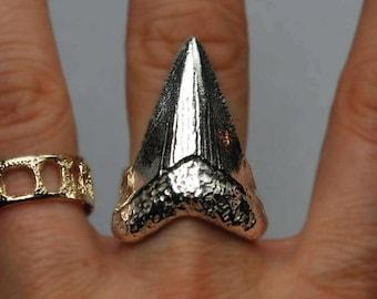 Sterling Silver Mega Shark Tooth Ring