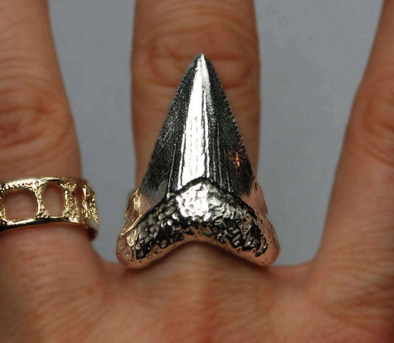 Sterling Silver Mega Shark Tooth Ring