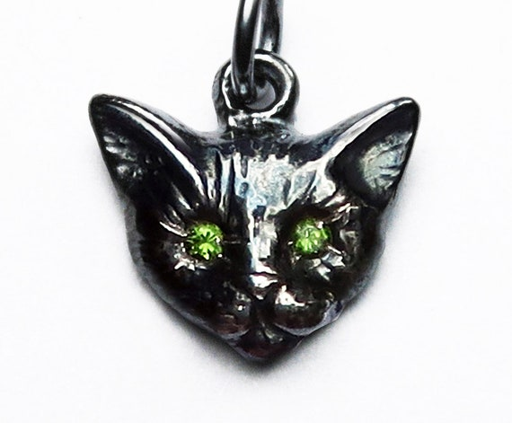 Small Blackened Sterling Silver Kitty Cat Charm with Jeweled Eyes-multiple gemstone options