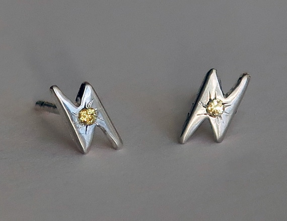 Sterling Silver & Yellow Sapphire Lightning Bolt Stud Earrings