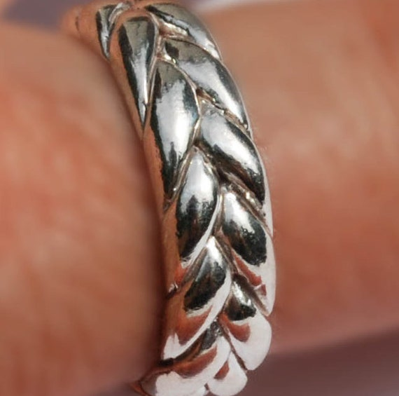 CUSTOM for Rose- Low profile, wide Sterling Silver Braid Ring