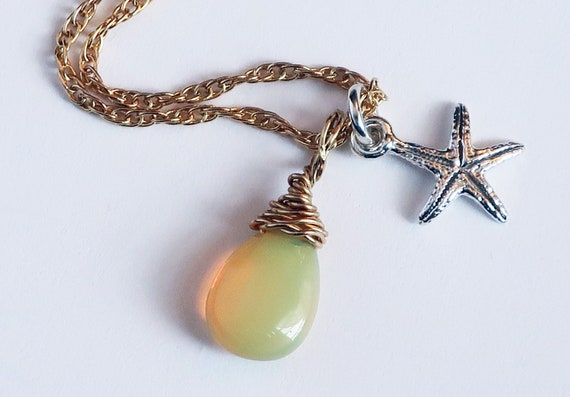 Tiny Starfish and Opal Drop Necklace-Ready to Ship
