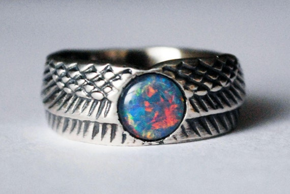 Sterling Silver and Opal Winged Disk Ring-Ready to Ship