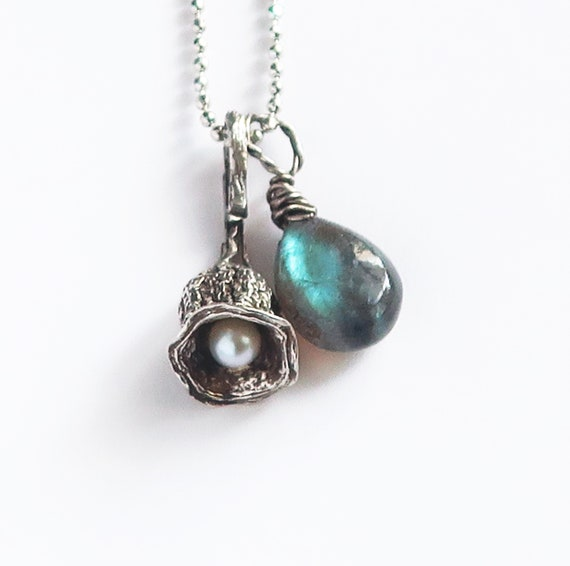 Solid Sterling Silver, Cultured Pearl and Labradorite Tinkerbell Necklace_Ready to Ship