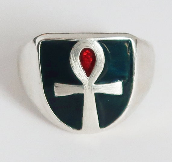 Sterling Silver, Deep Blue Green and Red Enameled Ankh Ring, Limited Edition, Ready to Ship, US Size 7.25