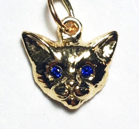 Yellow Gold Kitty Cat Charm with Blue Sapphire Eyes, charm only_Ready to Ship