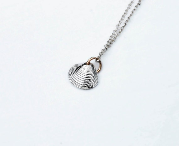 Tiny Solid Sterling Silver Shell Necklace
