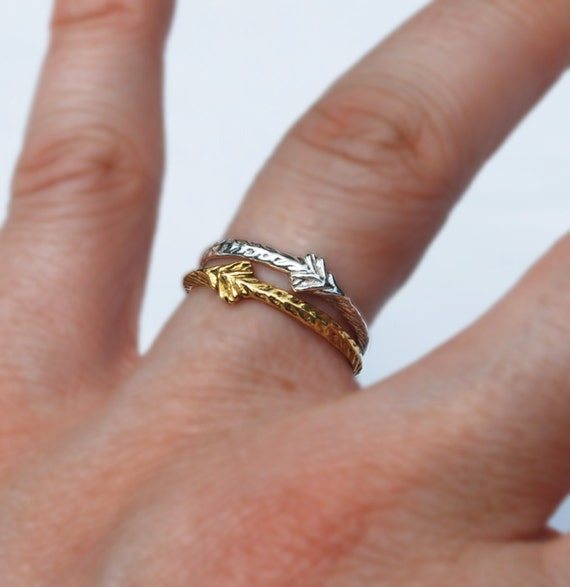 22 karat or 18 karat Solid Gold Tiny Sprout Rings