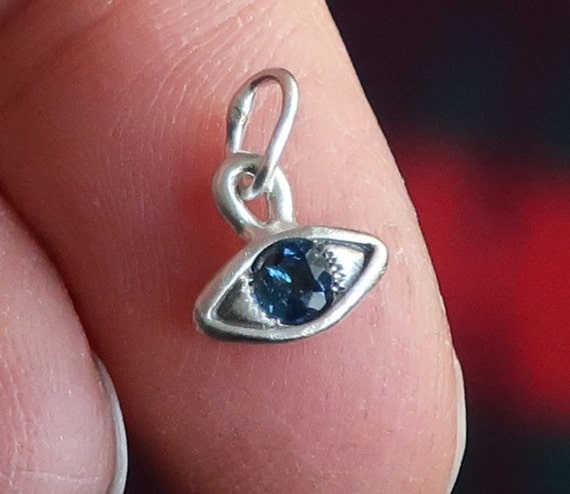 Sterling Silver & Blue  Green Tourmaline Eye Charm-small size-Ready to Ship