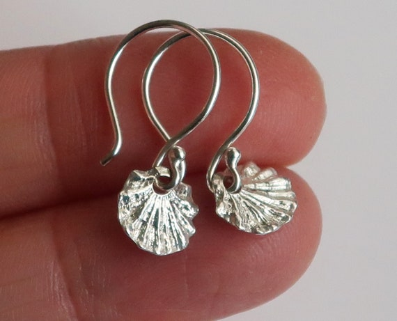 Tiny Fluted Sterling Silver Dangly Shell Earrings
