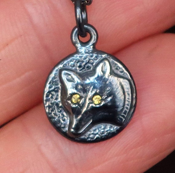 Black Sterling Silver Jeweled Wolf Charm Necklace-yellow sapphire eyes-Ready to Ship