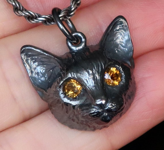 NEW!!! Large Blackened Sterling Silver Cat Charm with Golden Citrine Eyes