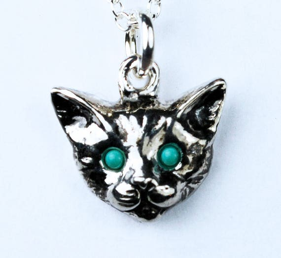 Sterling Silver Kitty Cat Charm with Turquoise Eyes