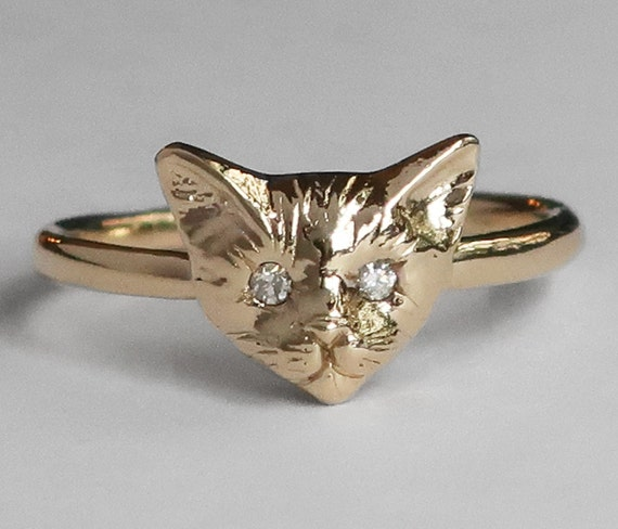 10k Yellow Gold Kitty Cat Ring with White Diamond Eyes