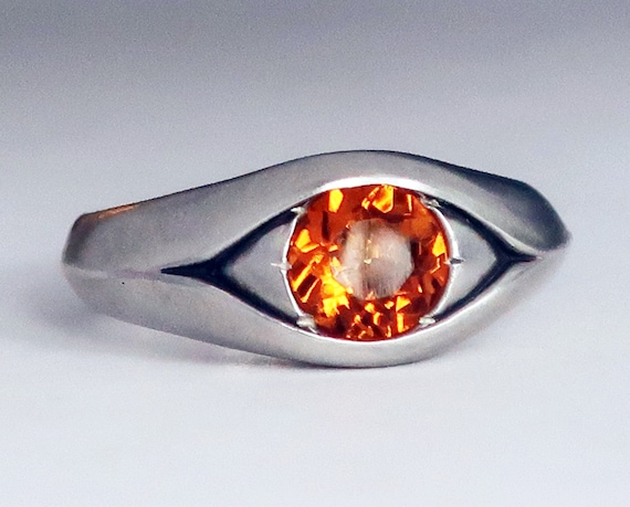 Large Sterling Silver and Citrine Eye Ring