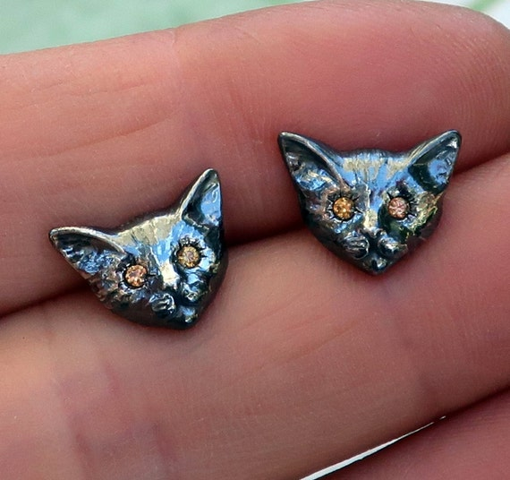 Black Sterling Silver & Genuine Yellow Sapphire Kitty Ear Studs-Ready to Ship