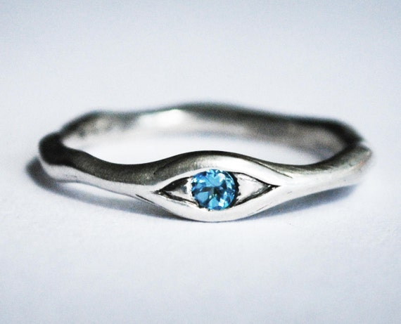 Sterling Silver and Genuine Blue Topaz Eye Ring