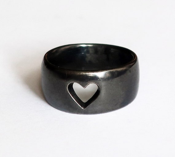 Wide Black Silver Cutout Heart Ring, US size 5.25-Ready to Ship