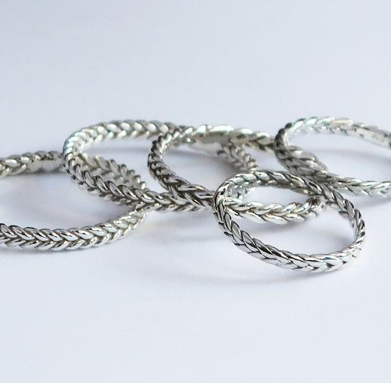 Sterling Silver Thin Braid Rings