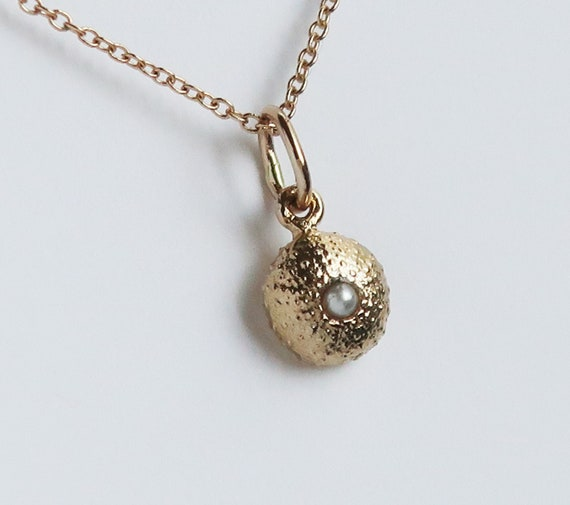 Tiny Solid Gold and Pearl Cushion Sea Urchin Necklace-Ready to Ship