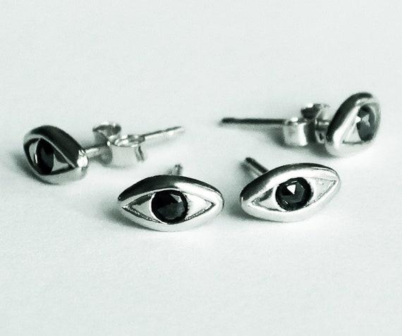 CUSTOM for Skye_Sterling Silver with Black Diamond Evil Eye Stud Earrings