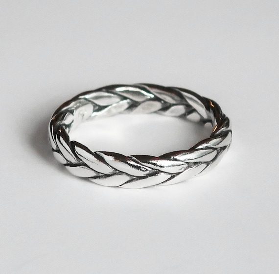 Sterling Silver Braid Ring-Sample, 4mm wide/2.2mm deep US size 8-Ready to Ship