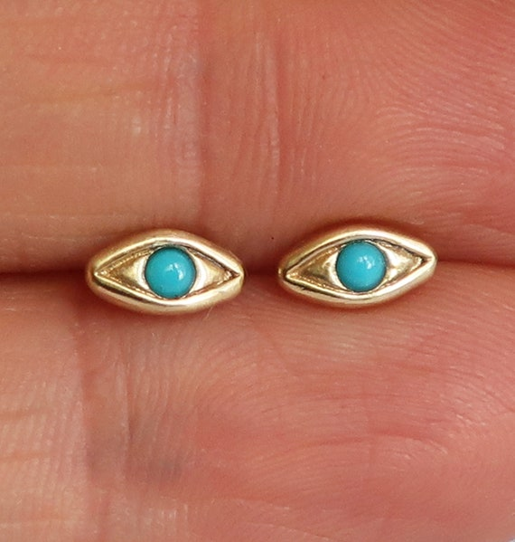 Yellow Gold with Persian Turquoise Evil Eye Stud Earrings