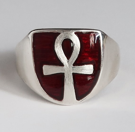 Sterling Silver and Red Enameled Ankh Ring, Limited Edition-2 of 3, Ready to Ship, US Size 8