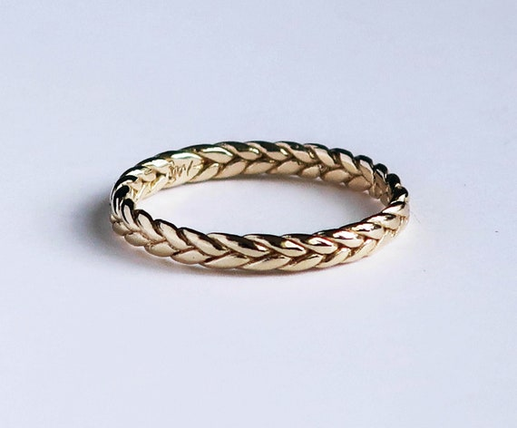 Solid 10k Yellow Gold Thin Braid Ring, US Size 4.75 Sample, Ready to Ship