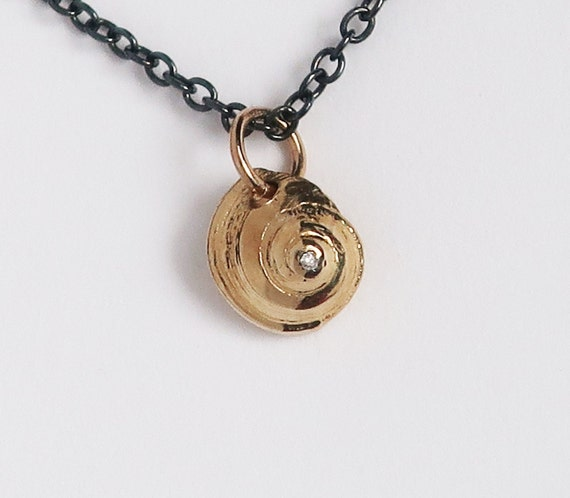 Tiny Solid Gold and White Diamond Nautilus Shell on blackened Silver Chain-Ready to Ship