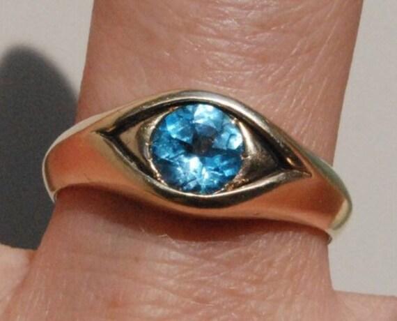 Large 14k Rose Gold Jeweled Eye Ring