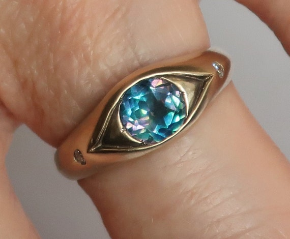 Gold Rainbow Topaz and White Diamond Eye Ring, Size 7 -Ready to Ship