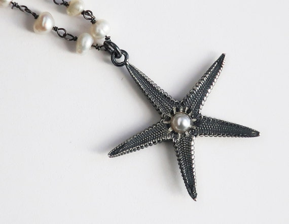 Sterling Silver and Pearl Starfish Necklace-Ready to Ship