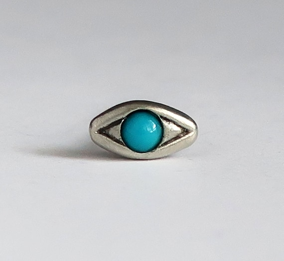Sterling Silver with Persian Turquoise , Single Stud Evil Eye Earring-Ready to Ship