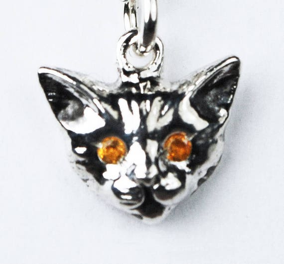 Sterling Silver Kitty Cat Charm with Yellow Citrine or Yellow Sapphire Eyes