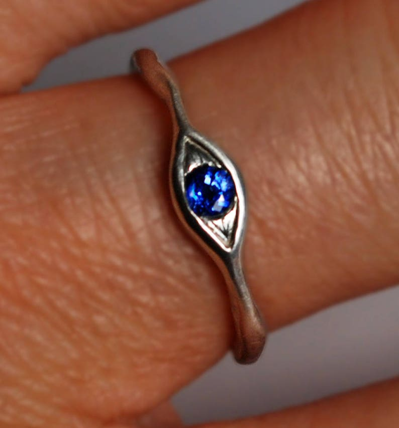 Sterling Silver and Blue Sapphire Eye Ring