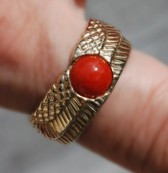 Gold and genuine Coral Winged Sun Disk Ring-Ready to Ship