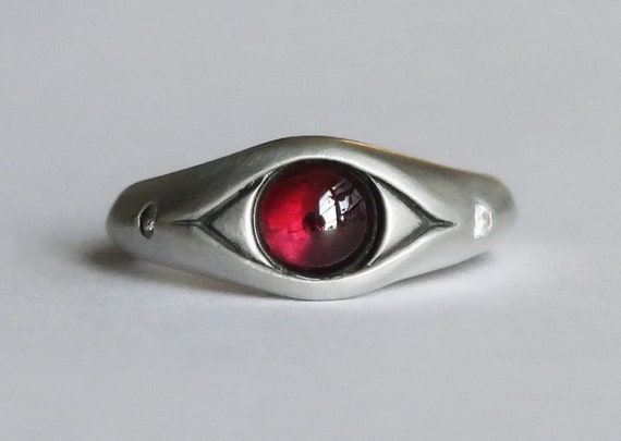 Sterling Silver, Rhodolite Garnet and White CZ Eye Ring, Size 7.5 -Ready to Ship
