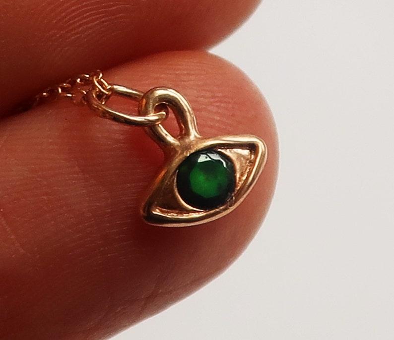 10k Rose Gold /& Black Opal Eye Charm