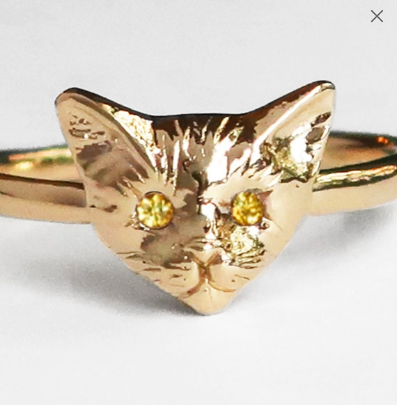 CUSTOM for Poppy Moon-14k Yellow Gold Kitty Cat Ring with Lab Created Yellow Sapphire Eyes, US size 5.75