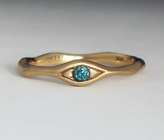 10k Rose Gold and Blue Diamond Eye Ring-Ready to Ship