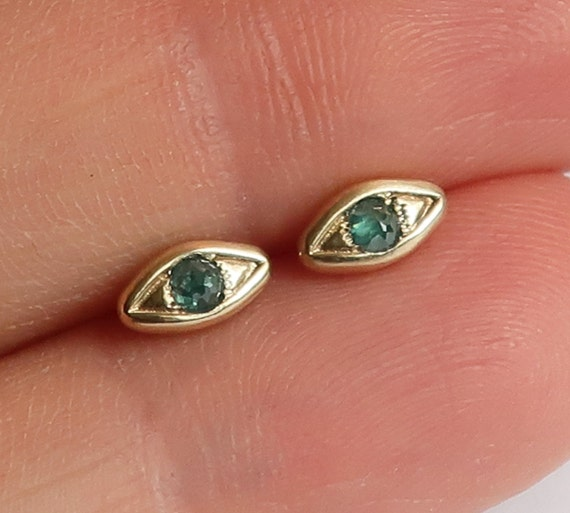 Solid Gold with Blue Diamond, Evil Eye Stud Earrings-Ready to Ship
