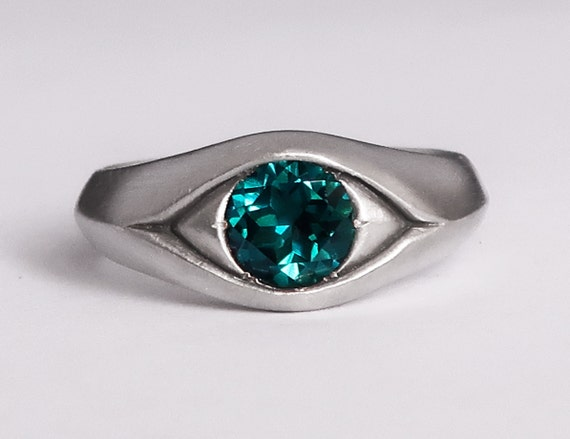 Large Sterling Silver and Teal Turquoise Topaz Eye Ring, Size 6-Ready to Ship