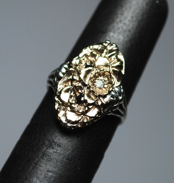 Flowers-10k Yellow Gold, Sterling Silver, White and Black Diamond Ring-Ready to ship.