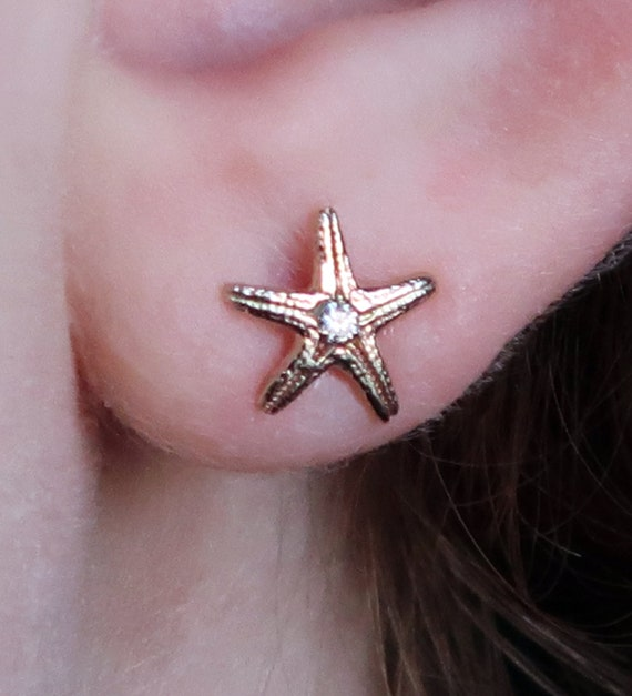 Solid Gold & White Diamond Single Tiny Starfish Stud Earring- Ready to Ship