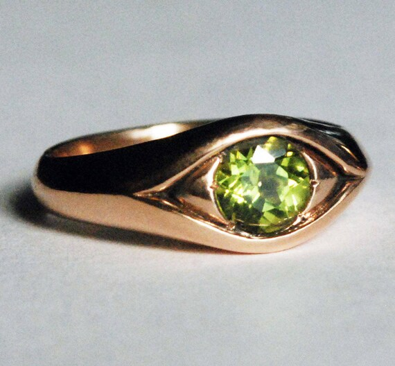 Large 10k Rose Gold Jeweled Eye Ring