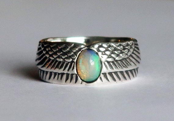Sterling Silver and Ethiopian Opal Winged Egg Ring-Ready to Ship