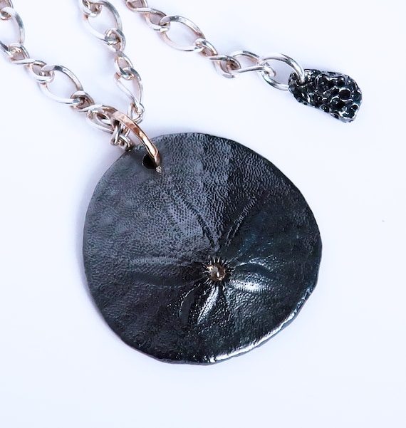 Blackened Sterling Silver, 14k & Yellow Diamond Large Sand Dollar-READY TO SHIP