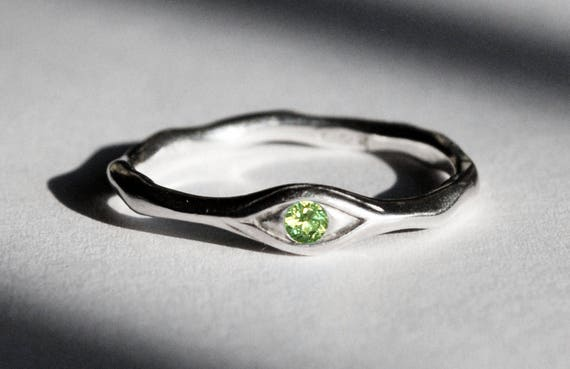 Sterling Silver and Genuine Peridot Eye Ring